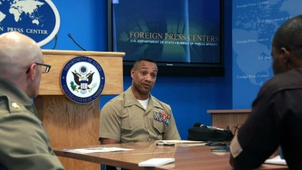 Date: 03/30/2016 Location: New York, NY Description: Colonel Worth discusses operations and activities in support of AFRICOM and EUCOM areas of operation with journalists at the New York Foreign Press Center. - State Dept Image