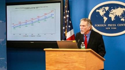 Date: 05/24/2016 Location: New York, NY Description: Dr. Laird Bergad briefs journalists at the New York Foreign Press Center on the role of the Latino electorate in this year's presidential election. - State Dept Image