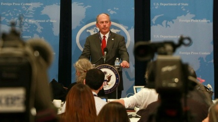 Date: 07/19/2016 Location: Cleveland, OH Description: Joe Schmitz, Donald Trump's Foreign Policy and National Security advisor, speaks to journalists about his candidate's foreign policy positions at the Republican National Convention. - State Dept Image
