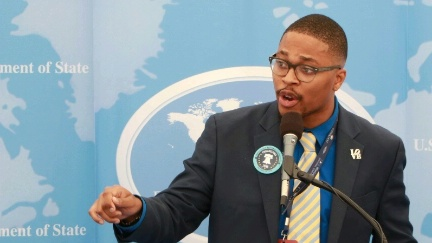 Date: 07/26/2016 Location: Philadelphia, PA Description: Malcolm Kenyatta, a delegate from Pennsylvania, discusses the impact of the African American vote in this year's election. - State Dept Image